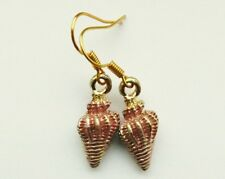 Pink Conch Shell Earrings. Gold plated. Beach, holiday, festival, seashore