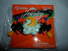 CERAMIC HALLOWEEN WITCH BEAR ON BROOMSTICK BARRETTE HAIR CLIP PIN ACCESSORY NWT