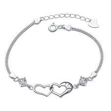 925 Sterling Silber Anhänger -Zirkonia +Halskette Herzkette STRASS Schmuck Kette