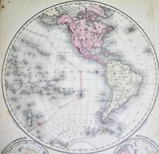 RAND MCNALLY SYSTEM OF GEOGRAPHY ATLAS MAP NO.1 WESTERN HEMISPHERE 1870s VINTAGE