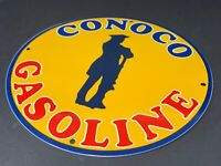 "VINTAGE CONOCO GASOLINE ADVERTISING SIGN 12"" PORCELAIN METAL OIL SIGN PUMP PLATE"