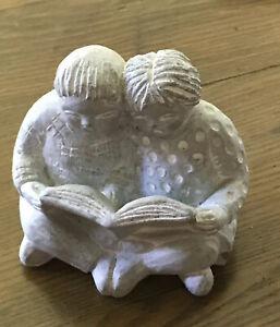 ISABEL BLOOM Signed~Children Reading Concrete Art Sculpture Figurine Retired
