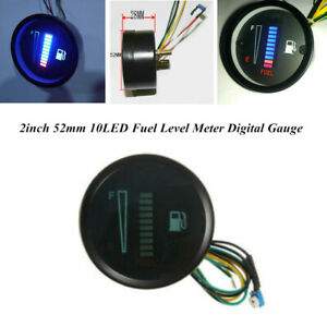 2 inch 52mm 10 LED Blue Display Car Motorcycle Fuel Level Meter Digital Gauge