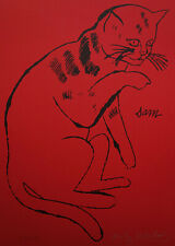 Limited edition silkscreen serigraph, Cat, signed Andy Warhol w DOCS