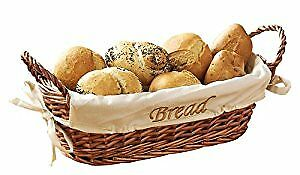 Wicker Bread Basket with Cream Fabric Lining - 12 X 28 X 15 cm, Natural