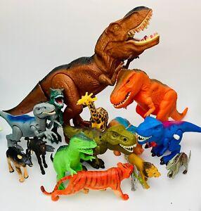 16 Pc Toy Dinosaur Figure Lot T-Rex Raptor Jungle Lion Tiger
