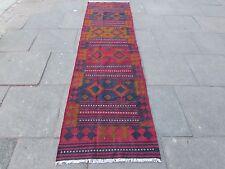 Old Hand Made Afgano Tradizionale Lana Tribale Rosso Marrone Kilim Runner 307x83cm
