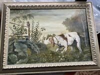 """Oil Painting Hound Dog """"On The Hunting"""" Original Signed Framed Man Cave"""