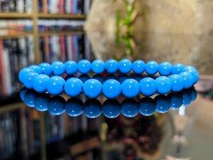 New! Natural Sleeping Beauty Blue Turquoise Bead Bracelet Men Women 8mm Stretch