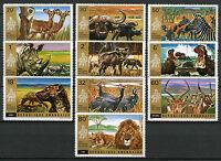 Rwanda 1972 MNH Akagera National Park 10v Set Lions Rhinos Wild Animals Stamps