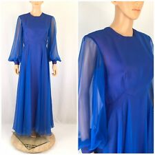Vtg. 70s Mike Benet Formals Blue Chiffon Maxi Dress Sheer Balloon Sleeve Party L