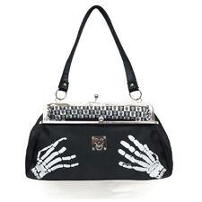 "Draven Misfits Punk Rock Ladies Women Purse Handbag Clutch 13""x6"" Skeleton Hands"