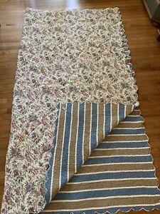 Elsa C Reversible Quilt COUSUMAIN /Myrtille Scalloped Flowers/Stripes Cotton