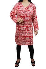 "Indiatrendzs Women Red Rayon Elephant Print Summer Kurta/ Kurtis/ Tunic 46"""