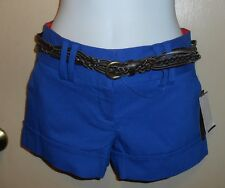 Tracy Evans Junior Shorts + Faux Leather Belt Cobalt Zero (0) NWT
