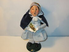 Byers Choice 1995 Victorian Girl with Fine Blue Cape Holding Holiday Card