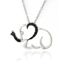 "Black Diamond Accent Elephant Necklace, 18"""