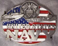Military Belt Buckle pewter U S Navy Montage and Flag NEW