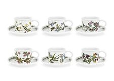 PORTMEIRION - BOTANIC GARDEN - SET OF SIX BREAKFAST CUP AND SAUCERS - NEW IN BOX