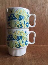 Vintage Stackable Coffee Mug Cup Retro Blue Green MUSHROOM Flower Japan Set of 2