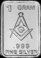 "1 Gram .999 Pure/Solid Silver Bullion Art-Bar: "" FREEMASONRY """