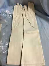 Vintage Lined Cream Leather Opera Gloves Spain- Size 6-1/2 NEW