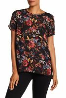 DR2 NEW Black Womens Size Small S Floral Print Chiffon High Low Blouse $58 511