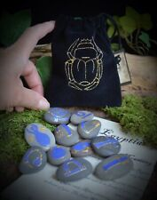 Egyptian Oracle Rune Stones  Wicca Pagan Witchcraft Divination Scarab Bag