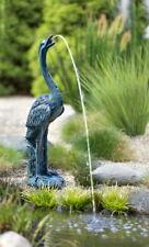 """Design Wasserspeier """"Kranich"""" - Deko, Gold, Pumpe, Brunnen - Wasserspiel - NEU"""