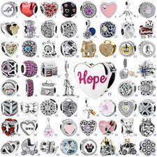 Flower Heart S925 Silver Charms Ciondoli Bead For European Bracelet Bangle Chain