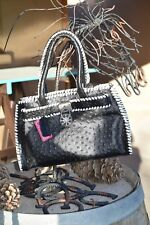 Black & White Genuine Leather Embossed Ostrich Handbag