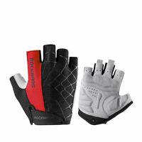 RockBros Bicycle Cycling Half Finger Gloves Fingerless Gloves Gel Pad Black Red