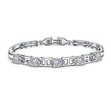 Fashion Gift H Bracelet Natural White Topaz Platinum Plated Bracelets 7.5 Inch