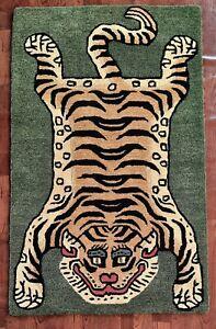 Tibetan Tiger Rug With 100% Woolen, 3x5 feet for Home Décor Bronze Green colour