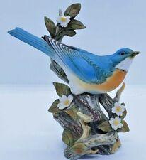 Vintage Homco Blue Bird on Branch & Flowers Masterpiece Porcelain Figurine