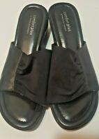 Comfort Plus by Predictions Ladies Slide On Short Wedge Sandal Black Size 8W