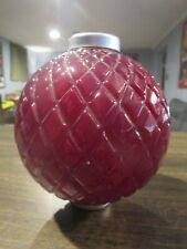 Antique Glass Lightning Rod Ball - George Thompson Flat Quilt - Red - Very Nice