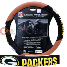 Green Bay Packers Steering Wheel Cover NFL Auto Accesories Football Grip