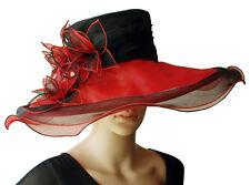 Elegante Cappello da donna ROSSO NERO Giglio Organza Sposa Di Matrimonio