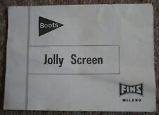 BOOTS JOLLY SCREEN INSTRUCTION MANUAL - FINS MILANO - F.I.N.S. - Slide Projector