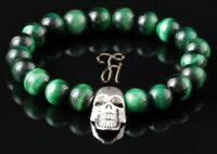 Tigerauge grün Armband Bracelet Perlenarmband silberfarbener Totenkopf Skull