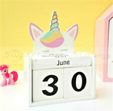 Girls Novelty Pastel Unicorn Wooden Perpetual Block Calendar Home Decoration