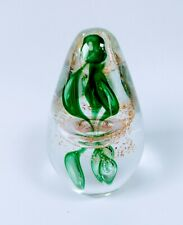 Cockington Art Glass Paperweight - Gold Leaf - Bubble Ring - Green Drop - 653 Gr