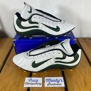 Vintage 1999 Nike Soccer/Football Green & White Leather Cleats Men's Size 14