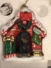 Danbury Mint Annual Dachshund Christmas Ornament 2008 Red Dog House With Box
