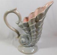 "Gonder Imperial Pottery 508 Shell Tankard Pitcher Blue Gray Pink Glaze Lg 13.5"""