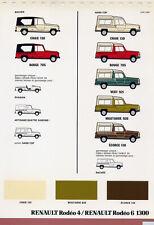 Catalogue prospekt brochure planche nuancier teintier Renault Rodéo 1981
