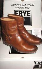 Frye Phillip Boots Cognac Brown Back Zip Short Ankle Harness 9.5 B Women EUC