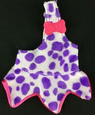 Flintstones Pebbles Doll Purple Spotted Dress Pink Trim & Bone