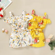 Toddler Kid Baby Girl Cold Shoulder Floral Printed Jumpsuit Playsuit Shorts 1-4Y